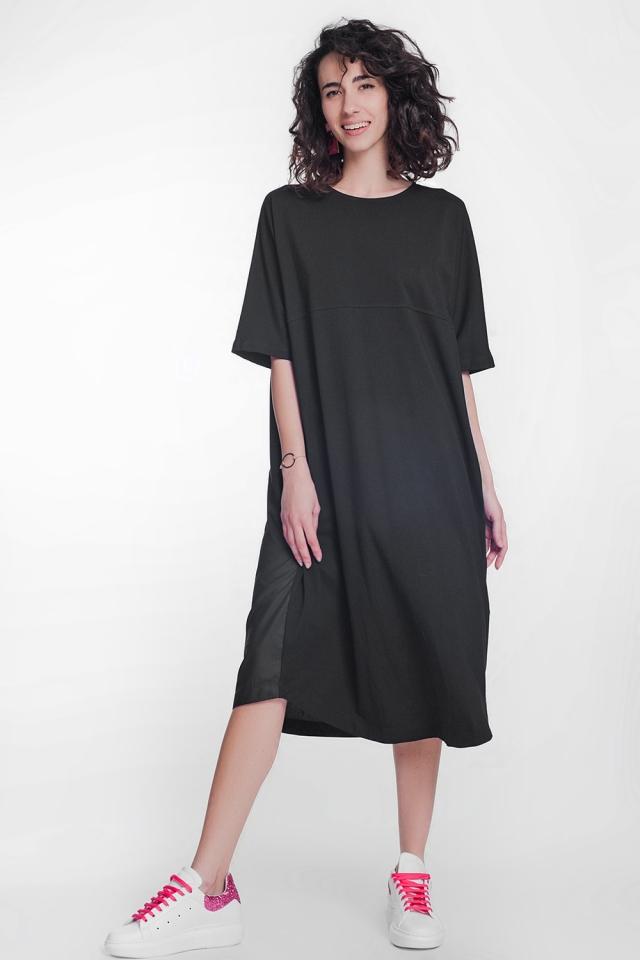 Vestido estilo camisero de popelin con cuello redondo en color negro