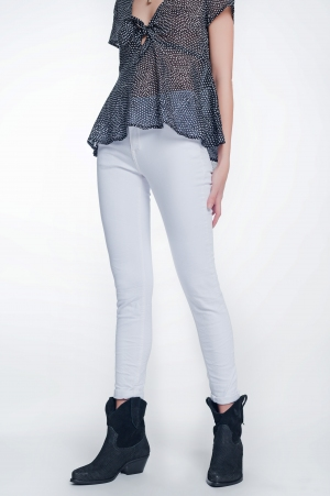Pantalon de talle alto color blanco