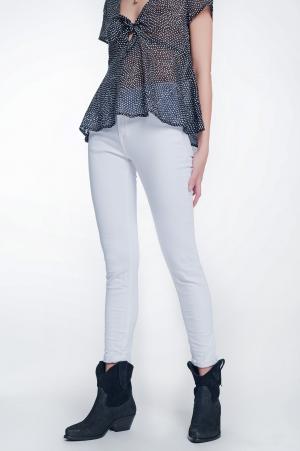 Pantalon de talle alto color blanco