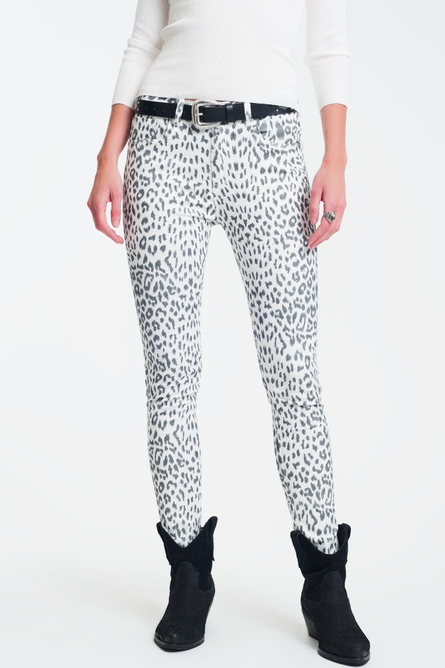 super skinny Pantalon estampado animal blanco