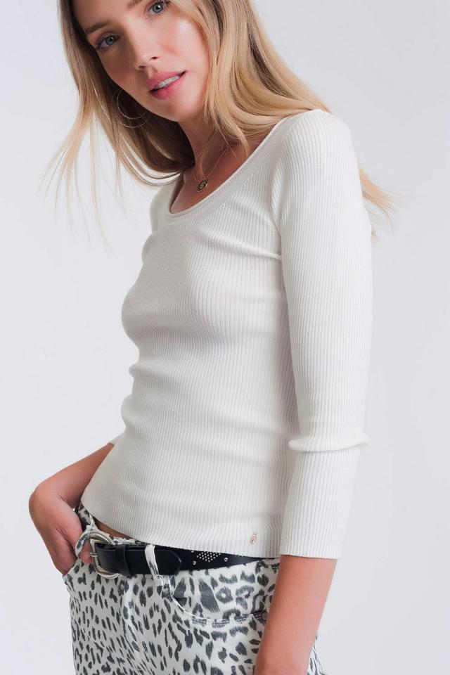 Jersey de punto con cuello amplio blanco
