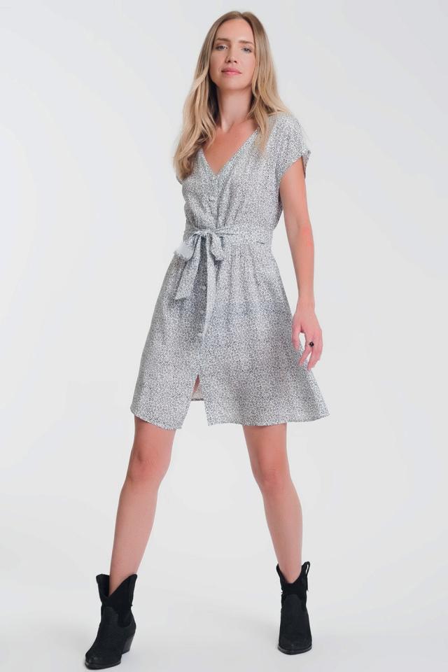 Vestido de gasa estampado en blanco con manga caida