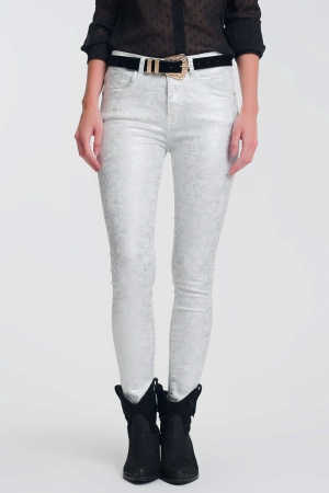 Pantalon super skinny blanco con estampado metalico