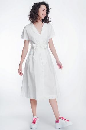 Vestido blanco de popeline con manga corta y cinturon
