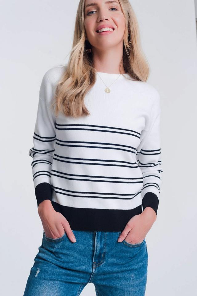 Sueter de punto con diseño de rayas bretonas en blanco
