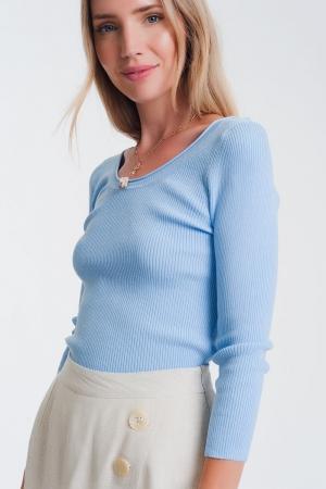 Jersey de punto con cuello amplio en azul