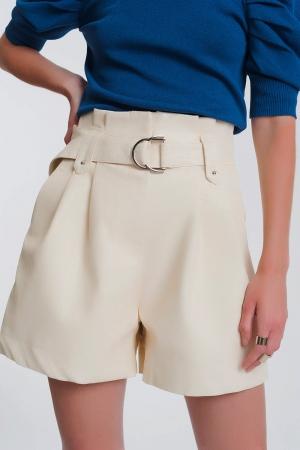 Pantalones cortos de cuero sintético con bolsillos y cintura paperbag