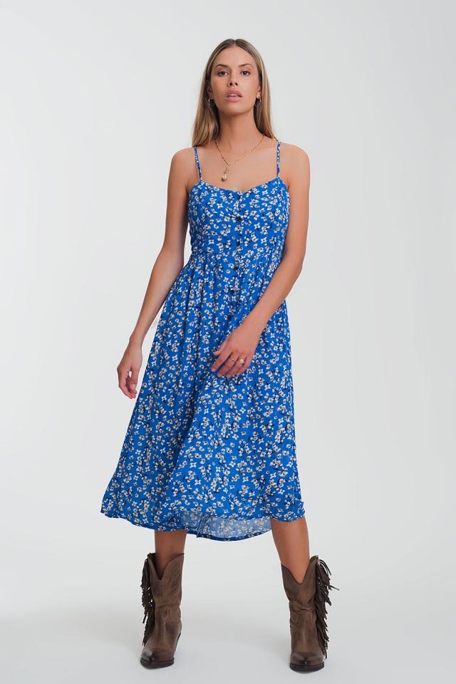 Vestido largo con botones en estampado floral azul