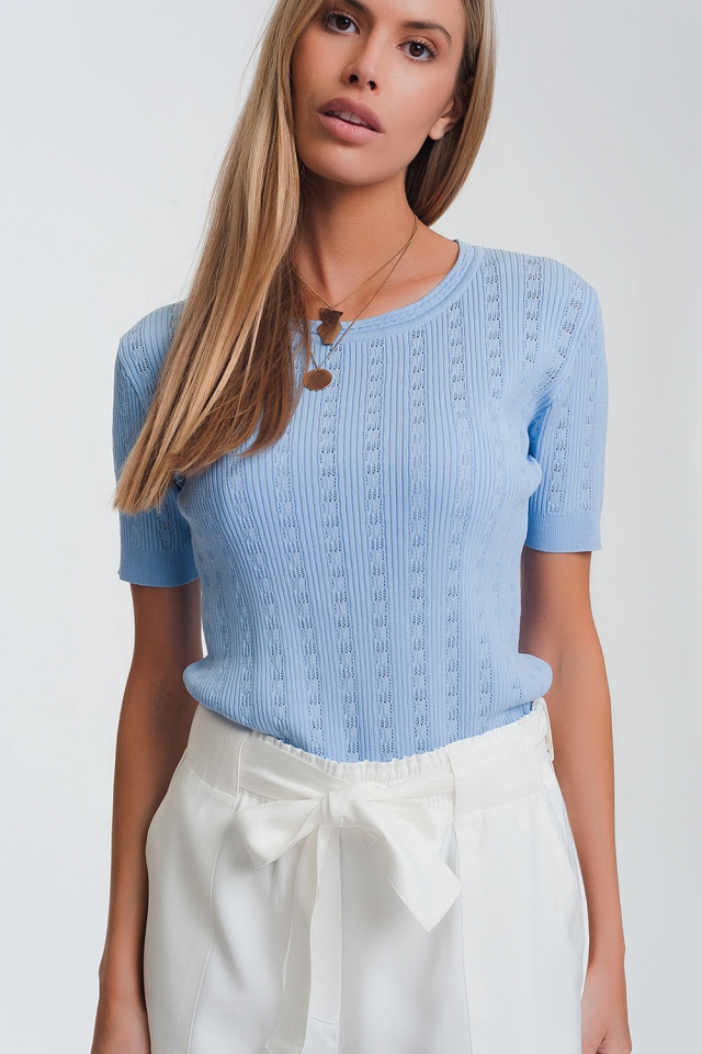 Jersey azul de punto fino canale con manga corta y cuello redondo