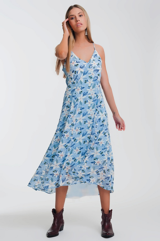 Vestido largo de tirantes con estampado de flores