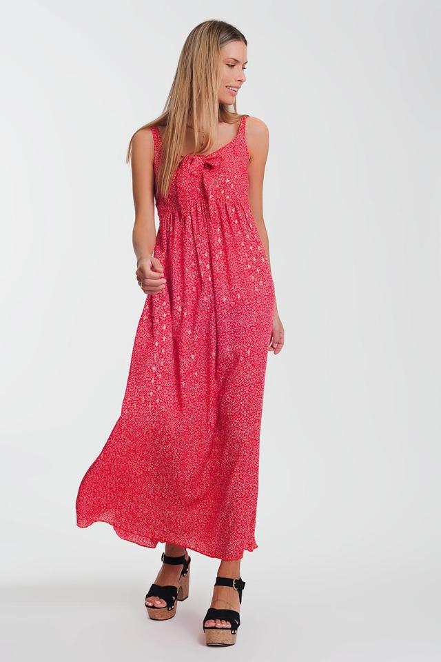 Vestido rojo midi con lazo delantero y estampado floral