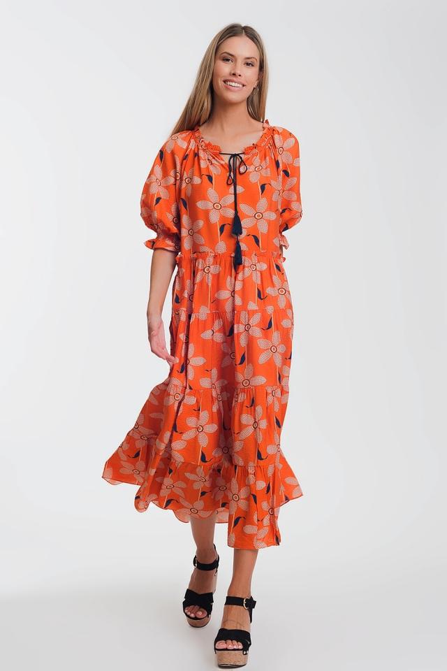 Vestido largo con manga abullonada y estampado floral