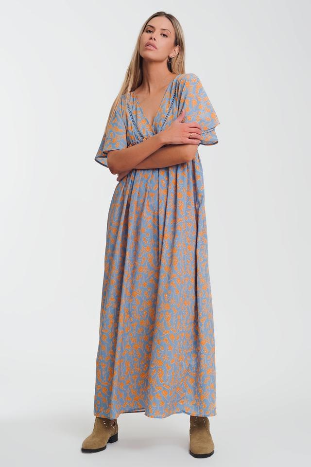 Vestido amplio largo con estampado floral