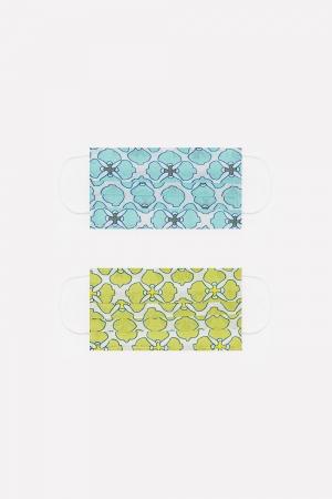 Paquete de 2 unidades Mascarilla de algodon organico estampado verde y turquesa
