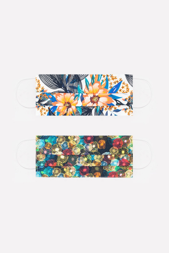 Paquete de 2 unidades mascaras de flores y tropical