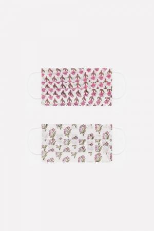 Paquete de 2 unidades Mascarilla de algodon organico estampados flores rosa