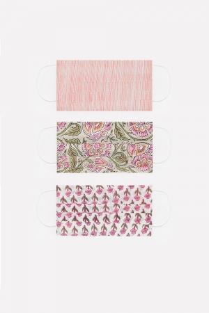Paquete de 3 unidades Mascarilla de algodon organico rosa
