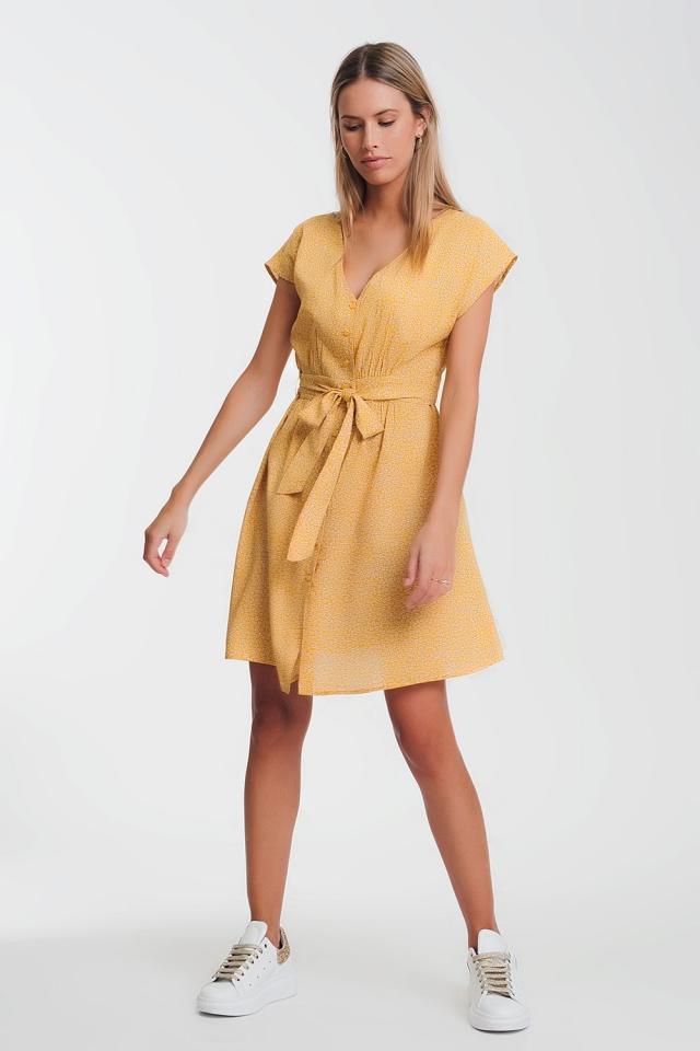 Vestido de gasa estampado en mustard con manga caida