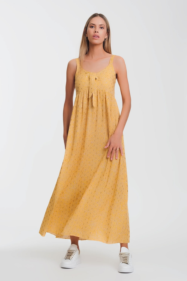 tie front midi yellow dress in floral print