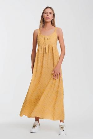 Vestido amarillo midi con lazo delantero y estampado floral