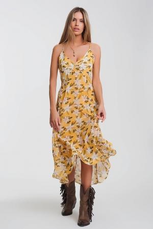 Vestido largo de tirantes con estampado de flores en amarillo