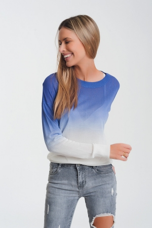 Jersey con cuello redondo en diseño teñido anudado