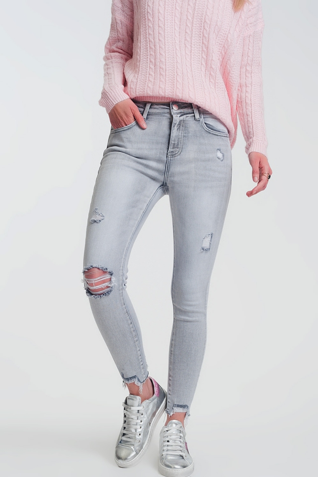 super skinny jeans in gray