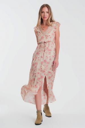Vestido largo de gasa con espalda abierta en beige floral
