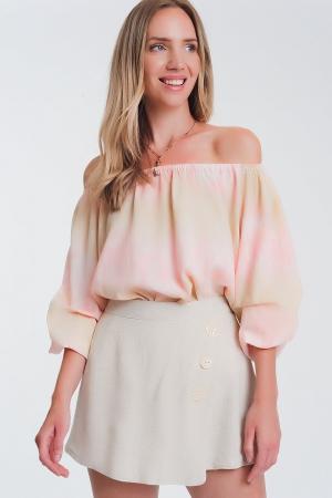 Top con escote Bardot en teñido anudado rosa