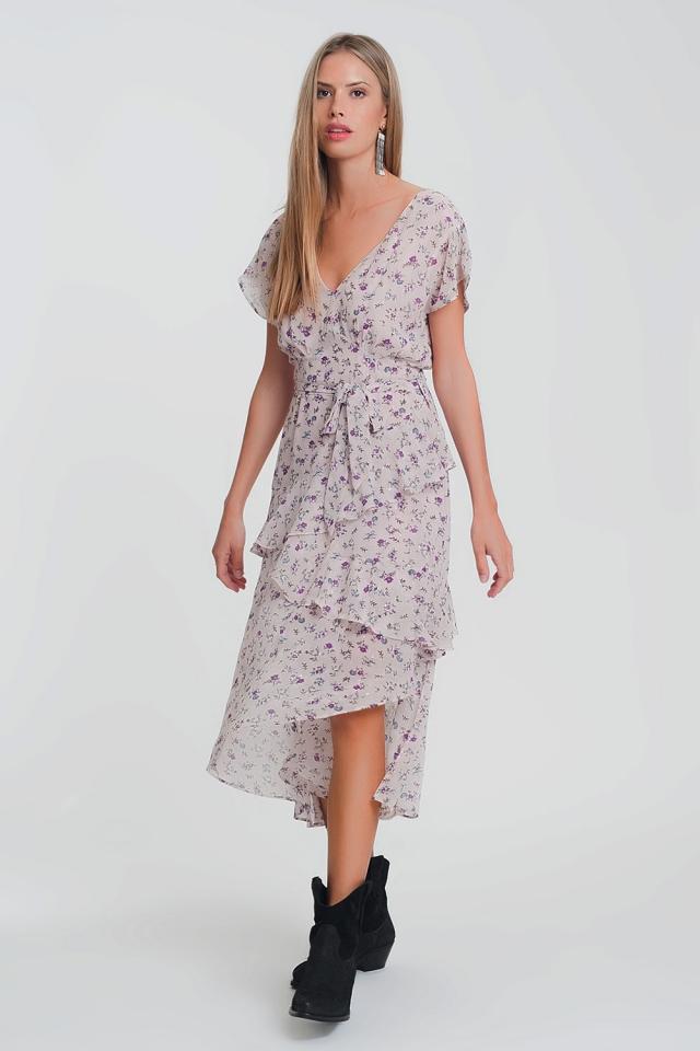 Vestido largo rosa estampado a flores con falda suave a capas