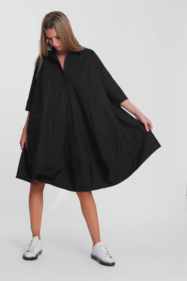Vestido amplio y extragrande de popelina de algodón en negro