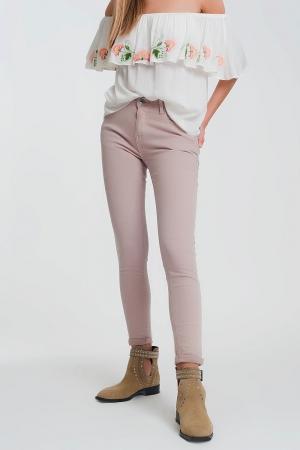 Pantalon de talle alto super ajustado en color rosa