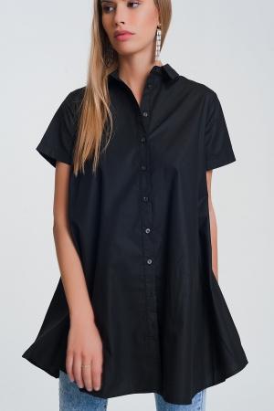 Camisa estragrande en negro y manga corta