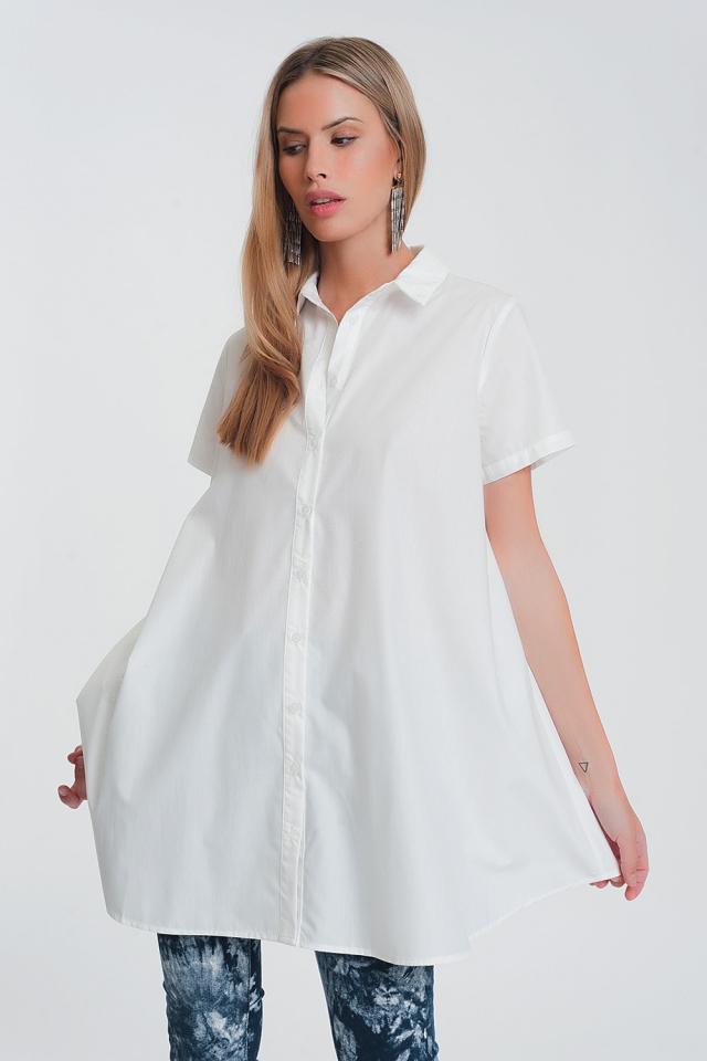 Camisa estragrande en blanca y manga corta