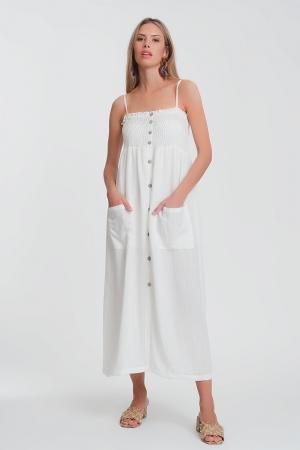Vestido largo en blanco con pecho fruncido y bolsillos