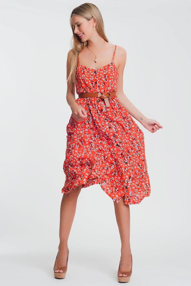 Vestido largo con botones en estampado floral rojo