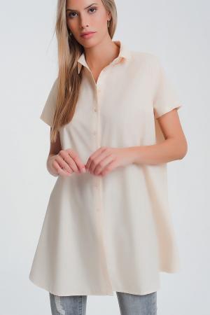 Camisa extra grande en beige y manga corta