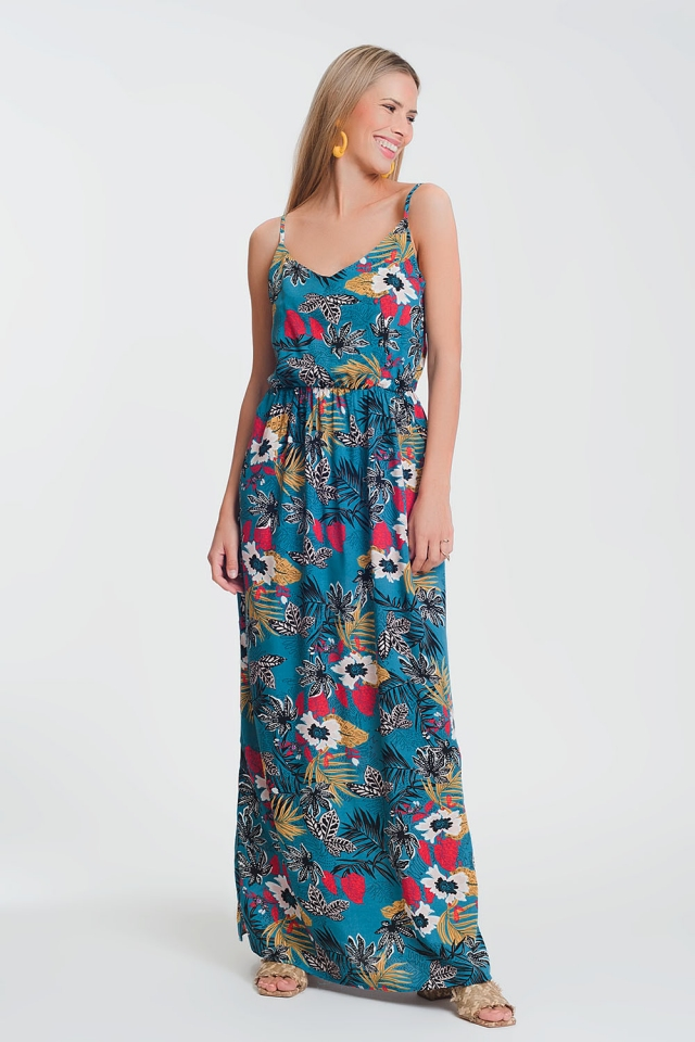 Vestido largo con estampado floral y cintura fruncida