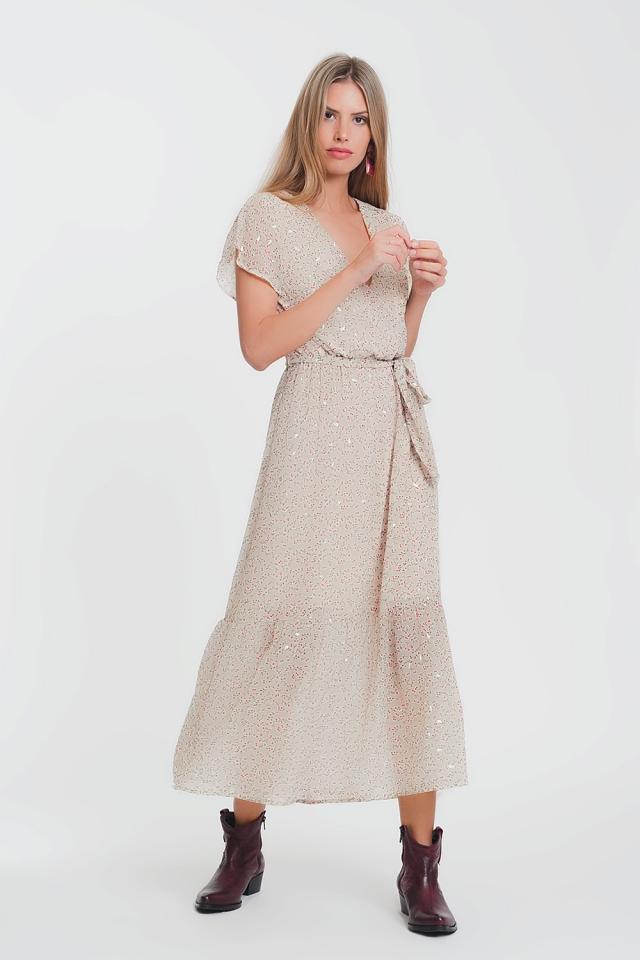Vestido largo con cintura anudada y estampado de florecitas