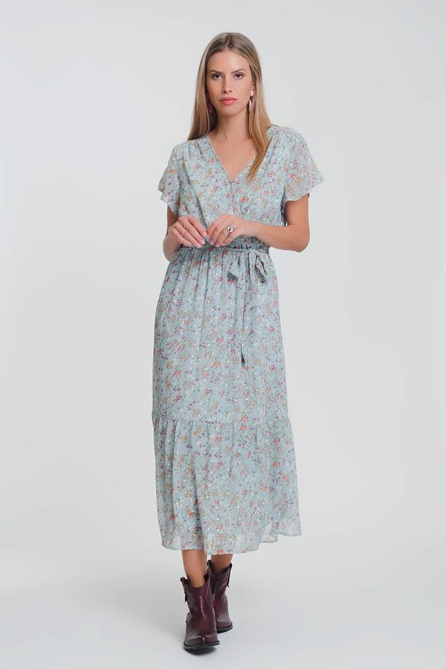Vestido largo de gasa de manga corta con estampado floral en azul