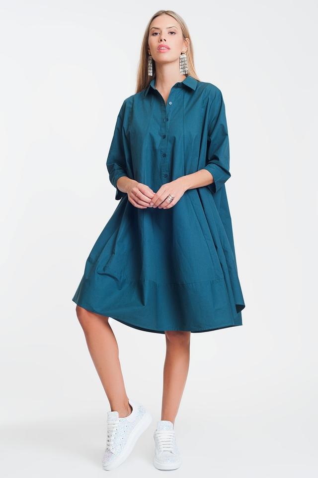 Vestido amplio y extragrande de popelina de algodón en verde