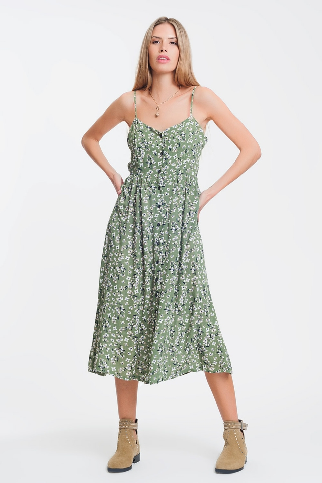 Vestido largo con botones en estampado floral verde