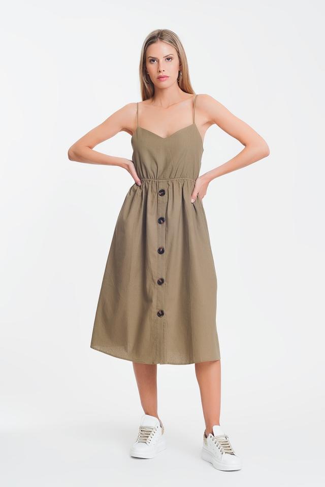Vestido midi marrón con diseño abotonado en khaki