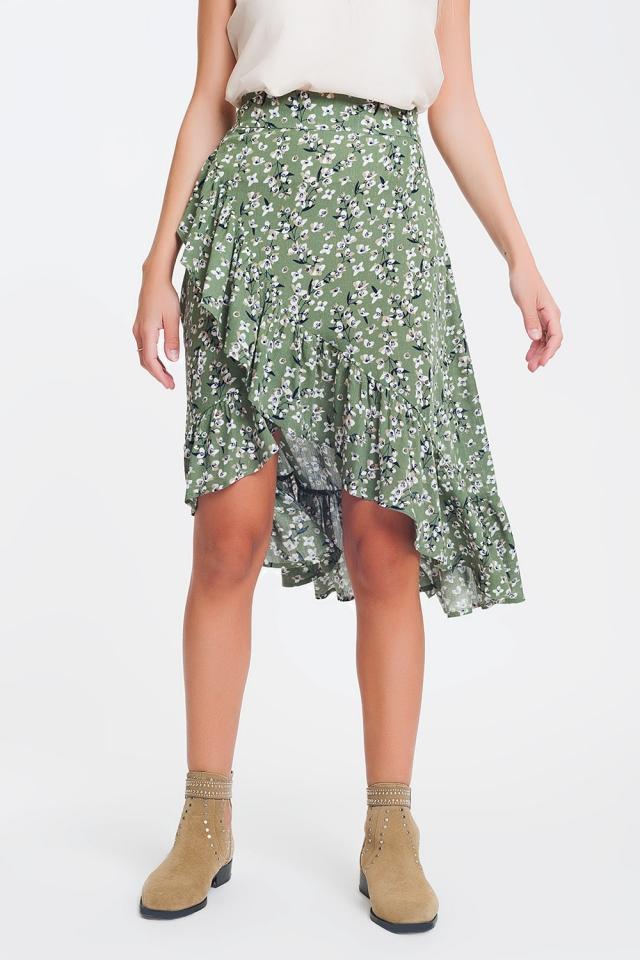 Falda verde asimétrica y cruzada con estampado
