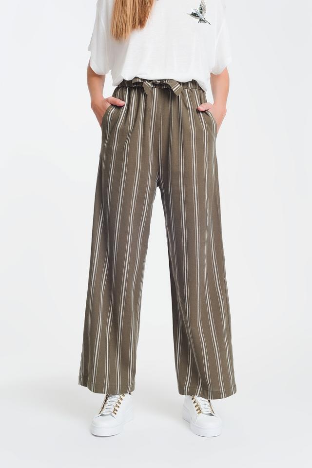 Pantalones khaki de pernera ancha a rayas