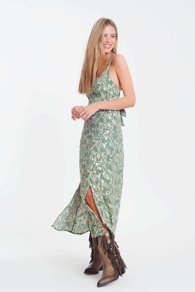 Vestido largo de tirantes con espalda abierta y estampado floral