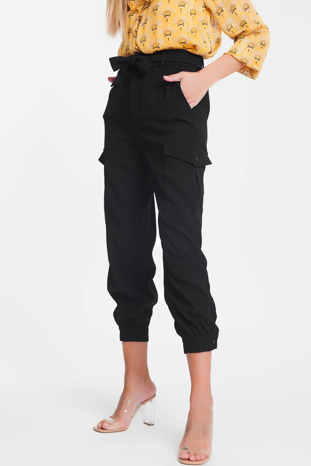 Black pants with belt