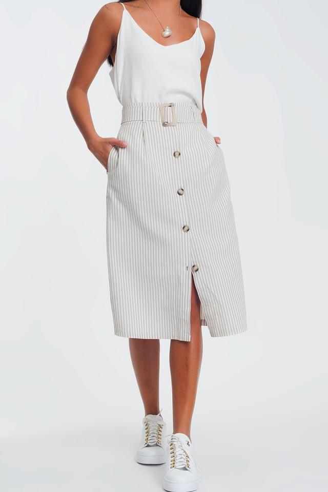 falda midi de rayas beige con botones