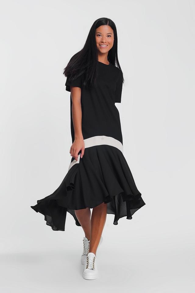 vestido maxi negro con una raya blanca