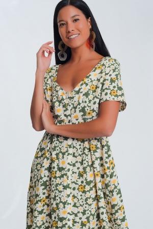 Minivestido con estampado verde floral